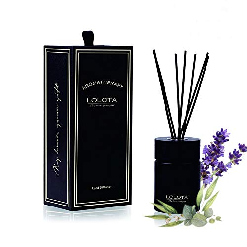 LALATA Fragrance Reed Diffuser Essential Oil Eucalyptus Lavender Scent in Gift Box, Natural Scented Long Lasting Fragrance Oil for Aromatherapy and Air Freshener