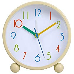 Colorful Kids Analog Alarm Clock,4 inch Simple Stylish Round Quality Quartz Battery Operated,Silent Non Ticking Small Desk Clock with Night Light for Bedroon, Bedside, Desk, White + Rose Red