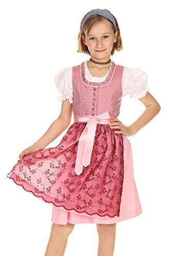 Isar-Trachten Kinder Dirndl festlich mit Spitzenschürze 3-teilig 43170 Altrosa Gr.158
