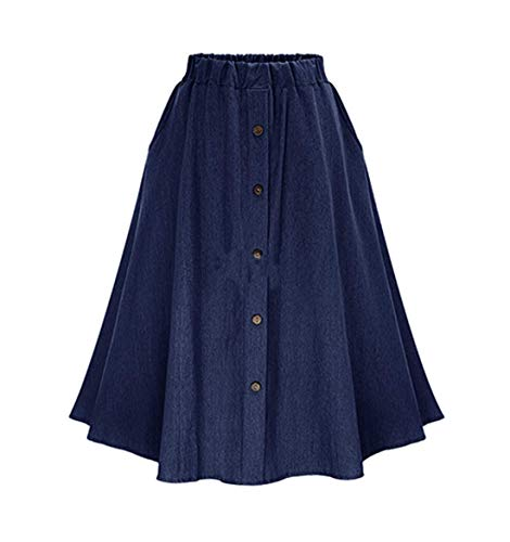 CHARTOU Womens Stretchy High Waist 5-Buttons Front A-Line Flowy Midi Skirts (Dark Blue, Large)