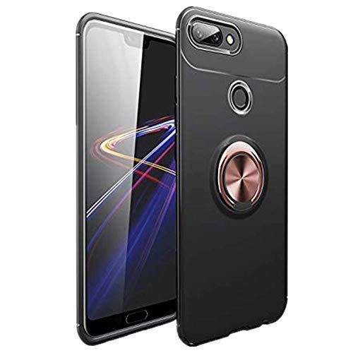 Funda protectora compatible para Huawei Honor 10 Lite, resistente y suave, de silicona, con soporte para anillo, magnética, resistente a los arañazos Oro negro. Talla única