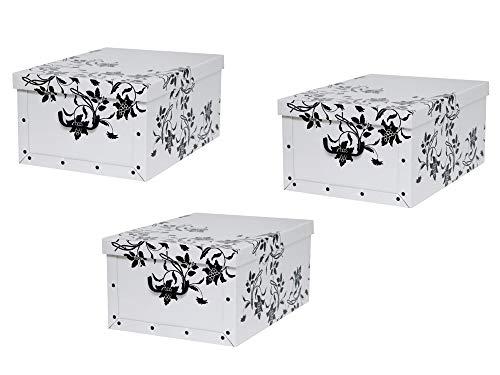 """Kreher Set 3 Stück Deko Karton """"Barock Blumen"""".Stabile Kartons aus Pappe in Weiß mit schwarzer Blumenranke. XL Volumen mit Kunststoff Griffen und Deckel. Preiswert und schön. Maße ca. 51 x 37 x 24 cm"""