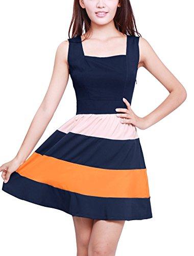 Allegra K Women Color Block Sleeveless Square Neck Mini Tank Dress XS Dark Blue