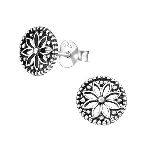 Laimons Damen-Ohrstecker Ohrringe Damenschmuck Mandala Scheibe Platte oxidiert Sterling Silber 925