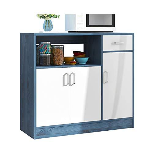 Vobajf Aparador Buffet del gabinete de Cocina Tabla Aparador 3 armarios y 1 Estante cajón Abierto (Color : Azul, Size : 90x30x82cm)