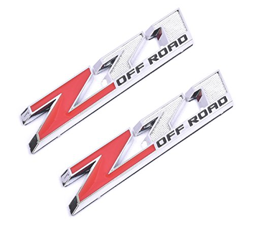 Aimoll 2pcs Z71 Off Emblems with Strong Tape Decal Emblems Badge for GMC Chevy Silverado Sierra Suburban (Chrome red)
