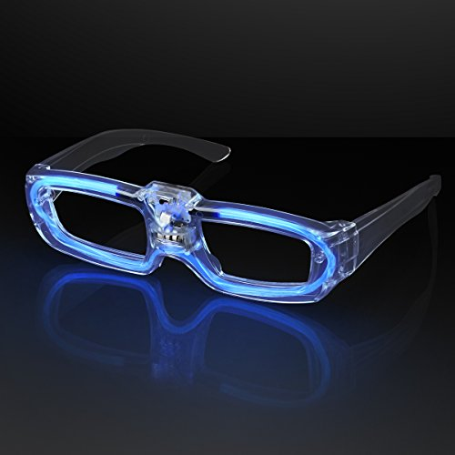 FlashingBlinkyLights Blue Sound Activated LED Light Up Party Glasses