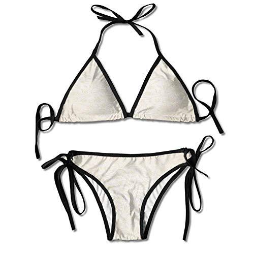 Custom Bikini Set Ralph Lauren Curved Leaves and Floral Blooms Printing Bikini