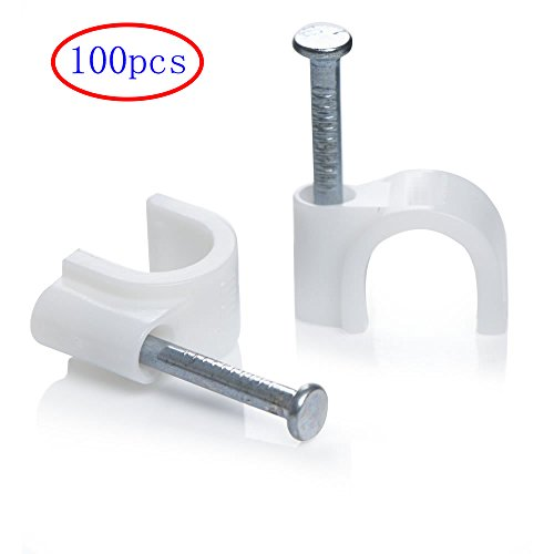 MINGZE 100 Stück Weiß Runden Kabel Draht Clips mit Stahlnagel, Elektrisch Draht Kabelschellen Nagelschellen Kabelclip, Kabel Klammer Management Nagelklammern (6mm)