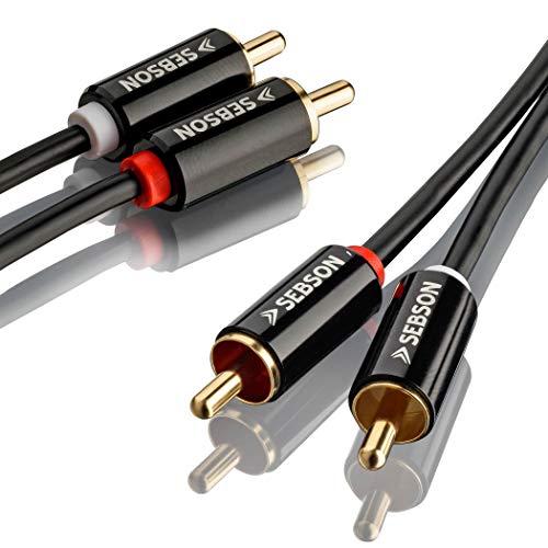 SEBSON Tulp Audio Kabel 1m, 2 mannelijk naar 2 mannelijk RCA Stekker, AUX Audio Kabel voor Stereo systemen, Versterker, Thuisbioscoop en Hifi Systemen