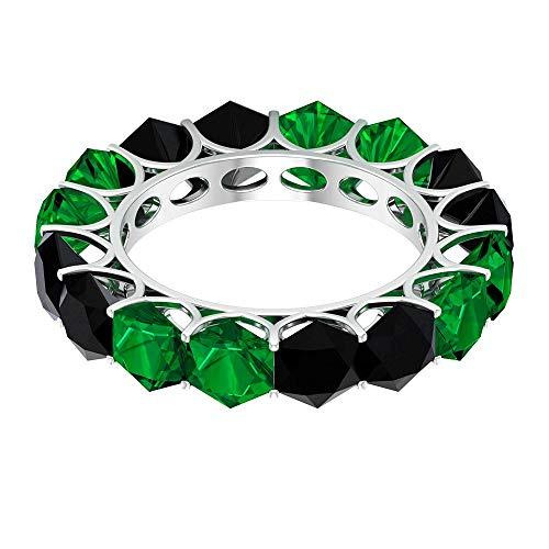 Anillo de esmeralda creado en laboratorio de 3,8 ct 5 mm, delicado anillo de eternidad completa, anillo de espinela negro hexagonal de 4,8 quilates, 18K Oro blanco, Size:EU 49