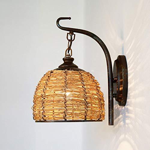 Rústica lámpara de Pared Hecha a Mano Rota la lámpara de Pared Cubierta de Montaje en Pared Retro luz E27 Pared Accesorio de iluminación de Pared Industrial Linterna para Cellar Bar Porche