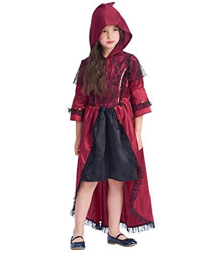 Disfraz de vampiro victoriano para niñas, vestido rojo con capucha, traje elegante para niños pequeños para la fiesta real de Halloween