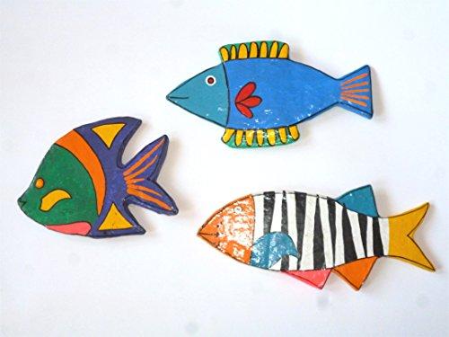 3er Set Fisch Magnete als Unikate - Pappmache Fischmagnete in Handarbeit gefertigt, Dekoration, Kinderzimmer Deko, Unikate als Weihnachtsgeschenk