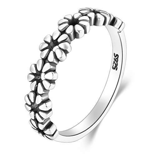 925 Sterling Silver Ring, BoRuo Daisy Flower Hawaiian High Polish Plain Dome Tarnish Resistant Comfort Fit Wedding Band Ring Size 6