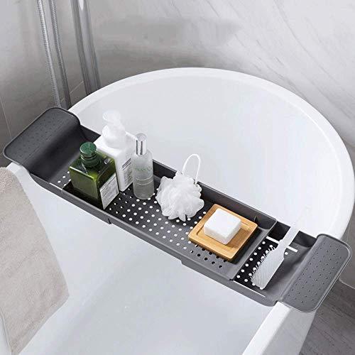Winnakui Vassoio per vasca da bagno regolabile con ripiano estensibile per vasca da bagno, scolapiatti per vasca da bagno, vassoio retrattile per cucina e bagno