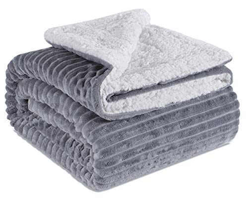 """EMME Fuzzy Sherpa Fleece Throw Blanket Warm Reversible Double Layer Striped Microfiber Ultra Soft Throw Blanket for Bed Couch Sofa Outdoor Travel (Grey, 50""""x60"""")"""