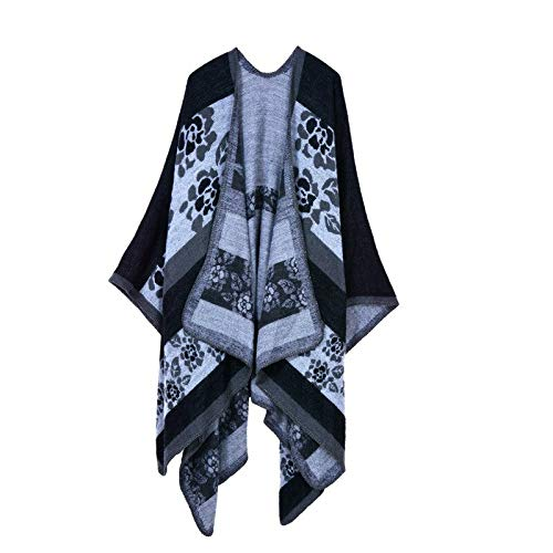 RMENGWJ Schal Winter Cashmere Scarf Damen Wolle Warme Ponchos Und Capes Fashion Solid Pashmina Strickschals Und Capes Vintage Blanket