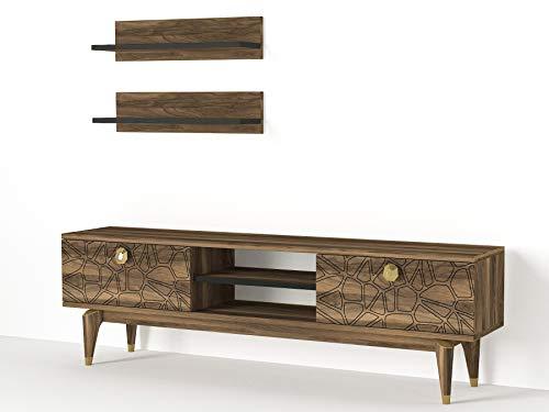 Alphamoebel 4814 Royal Wohnwand Anbauwand Schrankwand Mediawand, Walnuss Braun, modern, Designer Stück für Wohnzimmer, viel Stauraum, 2 Hängeregale, 150 x 45,5 x 30 cm