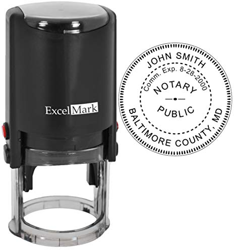 ExcelMark A-43 Self-Inking Round Rubber Notary Stamp - State of Maryland