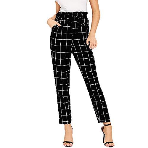 Pantalones para Mujer Otoño Invierno 2018 Moda PAOLIAN Casual Pantalones Vestir Cintura Alta Estampado Cuadros Pantalones de Pinza Uniformes de Trabajo Suelto con cinturón Elástica señora