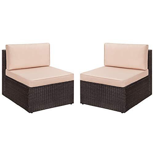 Devoko 2 Pieces Patio Furniture Sets All-Weather Outdoor Sectional Armless Sofa (Beige)