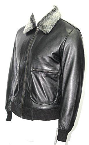 Amovible col de fourrure homme noir style bombardier doux véritable veste en cuir (UK 3XL / EU 58)