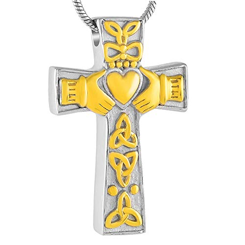 Keepsake Cremation Urn Necklace Jewelry Heart Cross Memorial Urn Pendant Keepsake Ashes Necklace Gift For Men