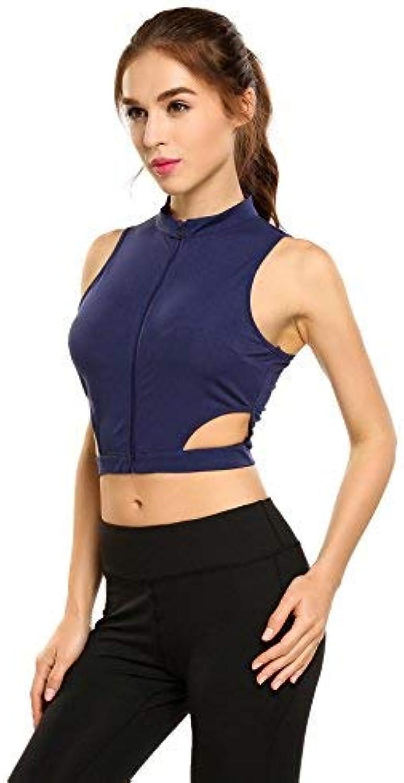 Aimado Women Training Sports Yoga Tops Hollow Sleeveless Zipper Crop Tank Workout Fitness (SXXL)