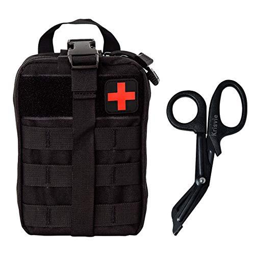 Weelth Médica Bolsa Primeros Auxilios Bolsa Táctica Compacta Botiquín y el Esquileo de los Primeros Auxilios (Negro)