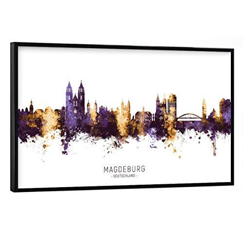 artboxONE Poster mit schwarzem Rahmen 30x20 cm Städte Magdeburg Skyline PurpleGold - Bild magdeburg City Cityscape