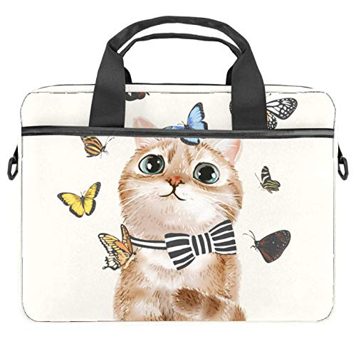 Bowcat Bow Tie Laptop Briefcase Unique Printed Compatible with 13-13.3 inch MacBook Pro, MacBook Air,Notebook Computer 11x14.5x1.2in