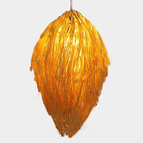 HSCW Tejido de bambú Colgante Madera Ligero Linterna de bambú vintage Lámpara de techo Araña retro Pantalla de ratán tejida a mano Restaurante Sala de estar Dormitorio Oficina Iluminación decorativa L