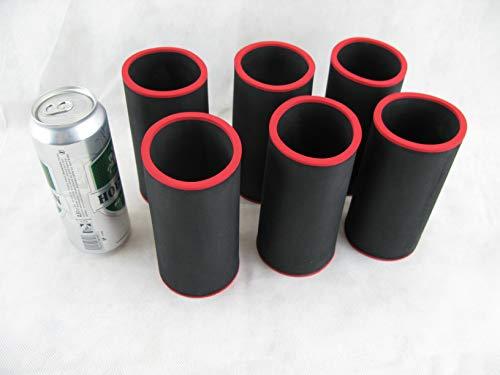 asiahouse24 6er Set Getränkekühler 0,5l Dose - Bierkühler - Neoprenkühler - passgenau ~Dosenkühler~ für alle genormten 0,5l Bierdosen aus hochwertigen 5-6mm starken Neopren (schwarz)