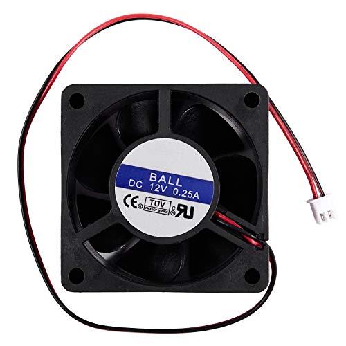 Timagebreze 60mm x 25mm 12V 0.25A 2Pines Ventilador de enfriamiento para Enfriador de CPU Caja de computadora