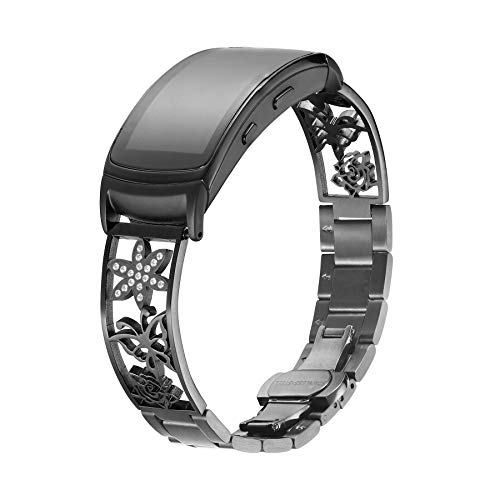 Compatible with Gear Fit2/Fit2 Pro Band,Replacement Stainless Steel watch Strap For Compatible with Samsung Gear Fit2 SM-360/Fit2 Pro SM-R365. (18mm, Black)