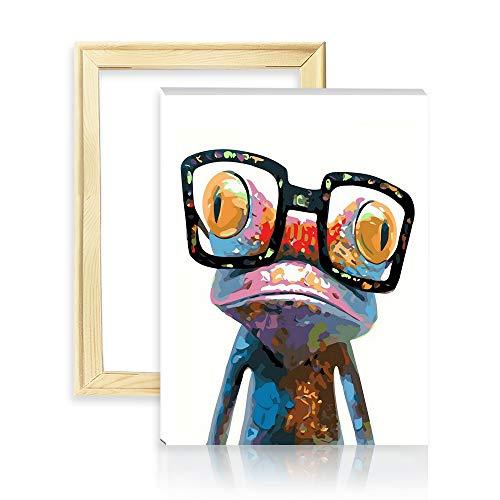 decalmile Malen Nach Zahlen Kits DIY Leinwand Gemälde für Erwachsene Kinder Anfänger Frosch mit Brille 16