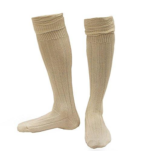 ILOVEFANCYDRESS Herren Bayerische Socken Fancy Kleid Zubehör Wolle Blend Deutscher laderhosen Creme Paar oder Kilt Schlauch schottischen Highlander UK 6–11–erhältlich in Mehreren Pack Größen