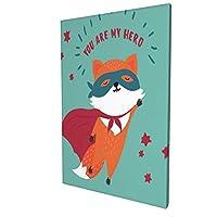 アートフレーム ポスター 壁 落書き A3 スーパーヒーローの衣装でオレンジと赤のかわいい野生のキツネ。あなたは私のヒーローテキスト アートパネル アート モダン 壁掛けアート アートボード インテリア 絵 絵画 部屋飾り 壁掛け 玄関 木枠セット 30X45CM