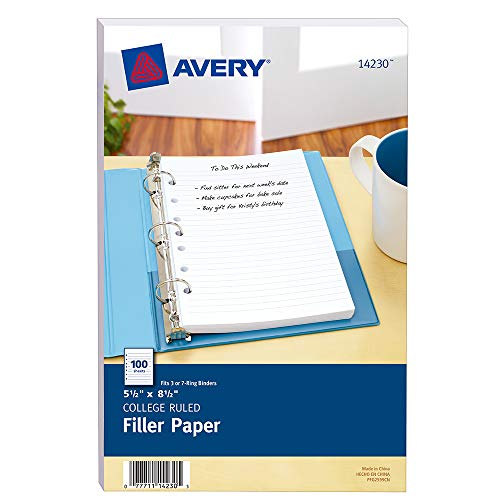 Avery Mini Binder Filler Paper, College Ruled, 5-1/2' x 8-1/2', 100 Sheets (14230)