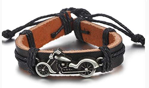 ookmngft Pulsera de Cuero para Hombre Pulsera de Cuero Batman de Motocicleta Vintage para Hombres y Mujeres Tejido de Cuerda Pulsera de joyería Ajustable 11