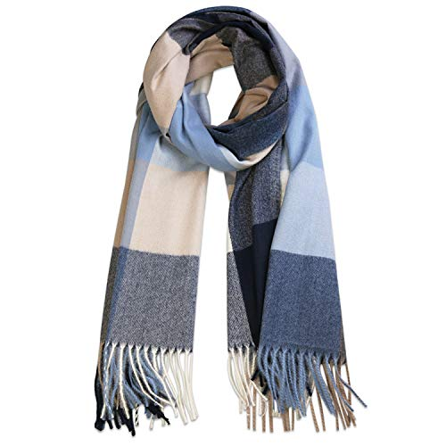 SOJOS Classic Plaid Tartan Cashmere Scarf for Women Men Soft Scarves SC316 with Grey and Blue Plaid