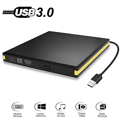 BEVA Unità DVD/CD Esterna, Masterizzatore CD Esterno USB 3.0, Lettore DVD Portatile Ultra Slim External Disc Per Windows 7/8/10/XP/Vista, Linux, Mac OS