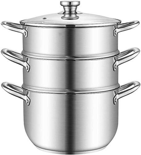 Vaporizador de vaporizador de vaporizador de vaporizador de vaporizador de vapor de vapor de vapor de vapor con asas en ambos lados utensilios de cocina con tapa para la cocina de tres capas de 26 cm