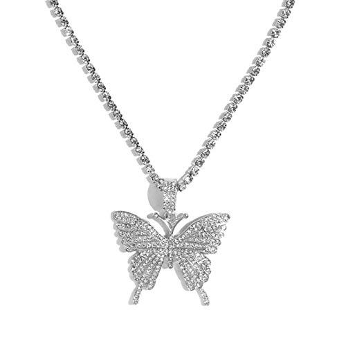 Collar con Colgante de Mariposa Grande y declaración, Cadena de Diamantes de imitación para Mujer, Cadena de Tenis Brillante, Gargantilla de Cristal, Collar, joyería de Fiesta