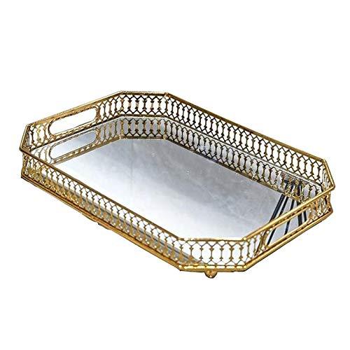 Fenteer Bandeja de maquillaje cosmético de cristal, bandeja decorativa de tocador con espejo, organizador de Perfume, artículos de tocador, bandeja de - Rectángulo