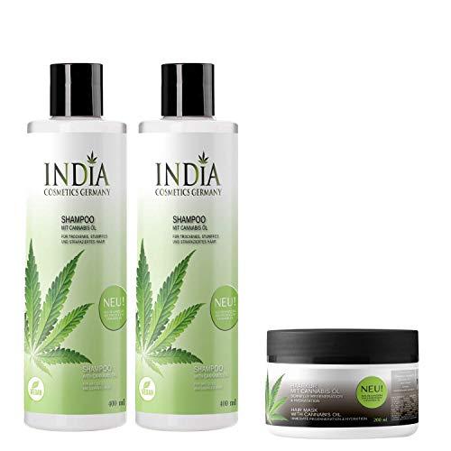 Shampoo Doppelpack mit Cannabis Öl Premiumqualität mit je 400ml XXL Größe plus gratis Haarkur komplettes Haircare Set im Gesamtwert von 45 Euro!