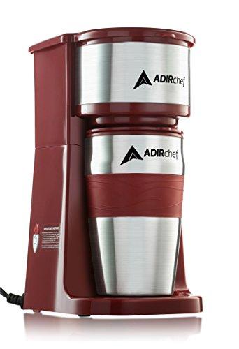 AdirChef Grab N' Go Personal Coffee Maker with 15 oz. Travel Mug (Ruby Red)