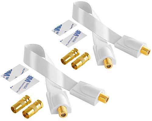 Poppstar 2X 28cm SAT Fensterdurchführung (0,2 mm Fensterdurchführung SAT Kabel sehr flach), 4X F-Stecker (2X auf Antennenstecker, 2X auf Antennenbuchse), 4 Klebepads, weiß