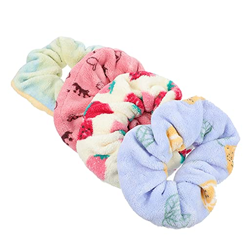 Lurrose 4 unids coleteros de pelo grande de felpa suave coleteros elásticos paño grueso y suave toalla de pelo elástico titular de las corbatas para el pelo Accesorios para el cabello regalo